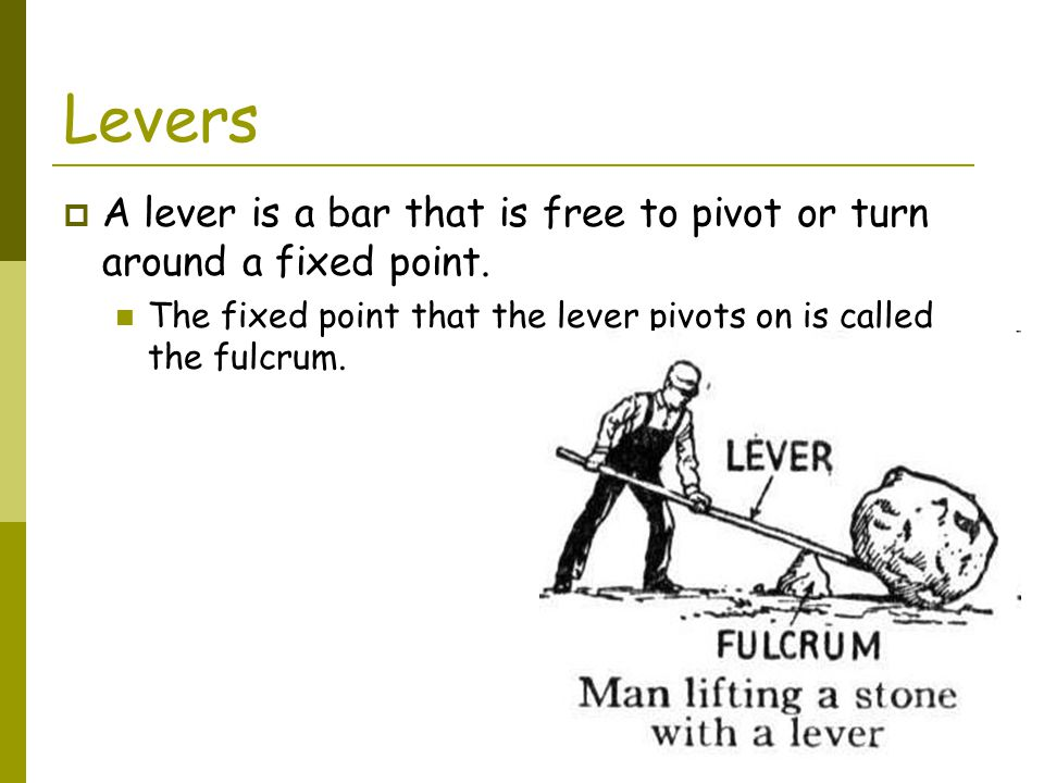 Levers A lever is a bar that is free to pivot or turn around a fixed point.