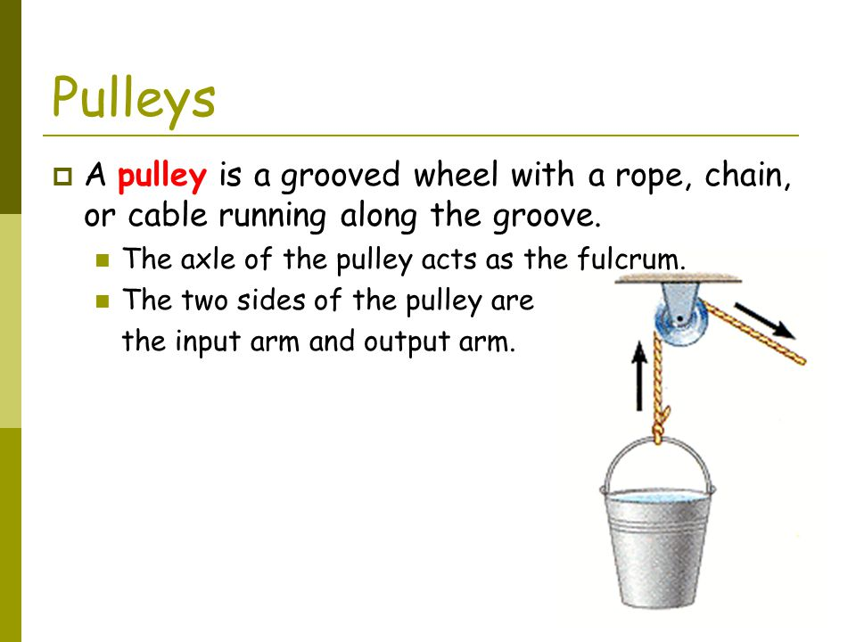 Pulleys A pulley is a grooved wheel with a rope, chain, or cable running along the groove. The axle of the pulley acts as the fulcrum.