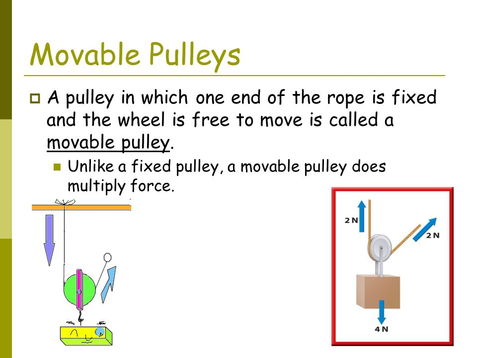 Movable Pulleys A pulley in which one end of the rope is fixed and the wheel is free to move is called a movable pulley.