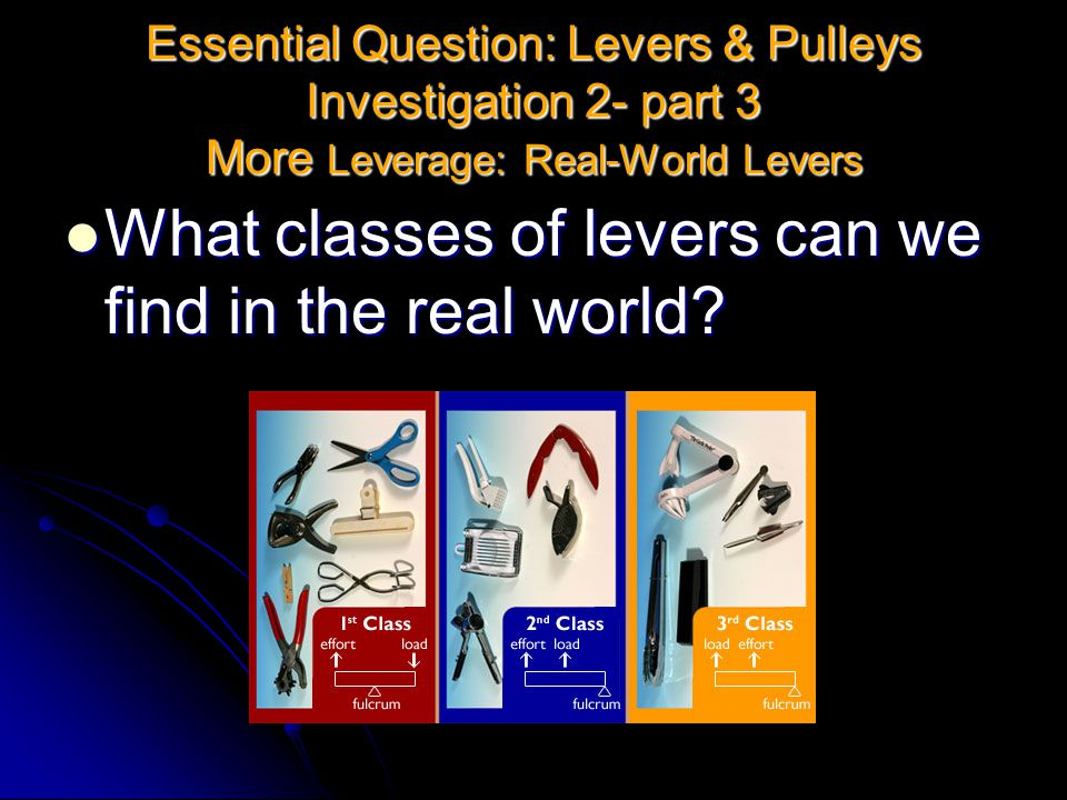 What classes of levers can we find in the real world