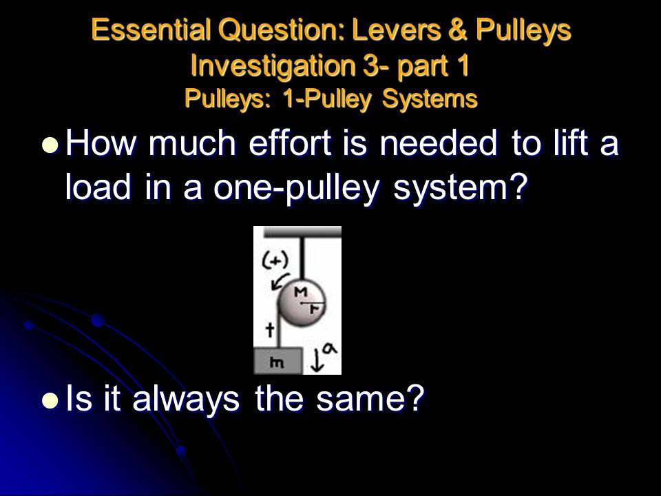 How much effort is needed to lift a load in a one-pulley system