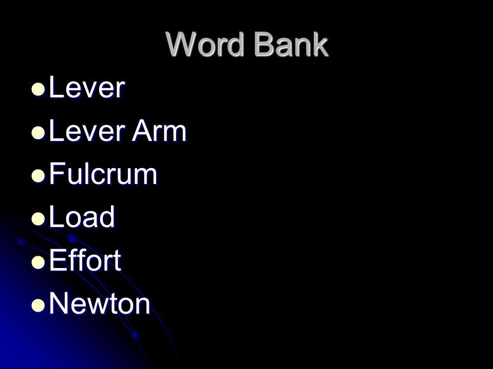 Word Bank Lever Lever Arm Fulcrum Load Effort Newton