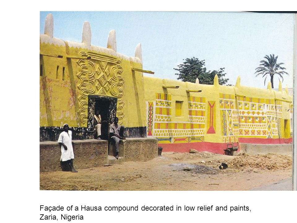 Façade of a Hausa compound decorated in low relief and paints,