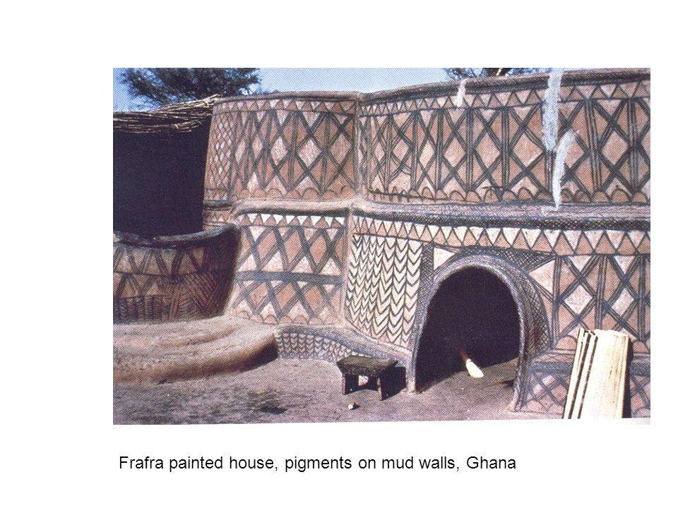 Frafra painted house, pigments on mud walls, Ghana