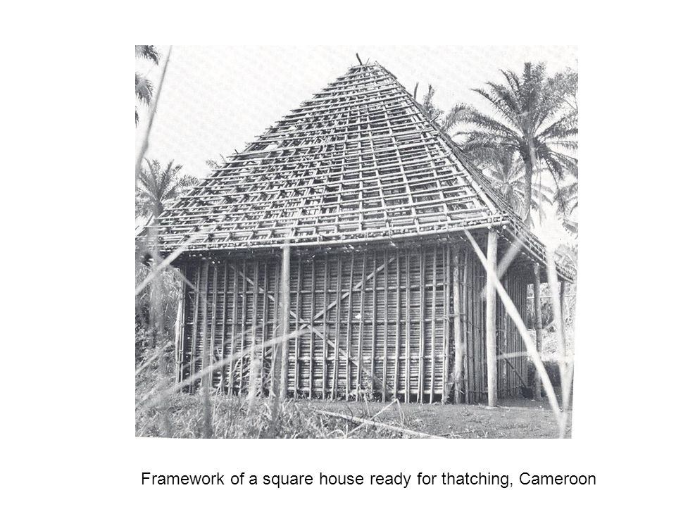 Framework of a square house ready for thatching, Cameroon