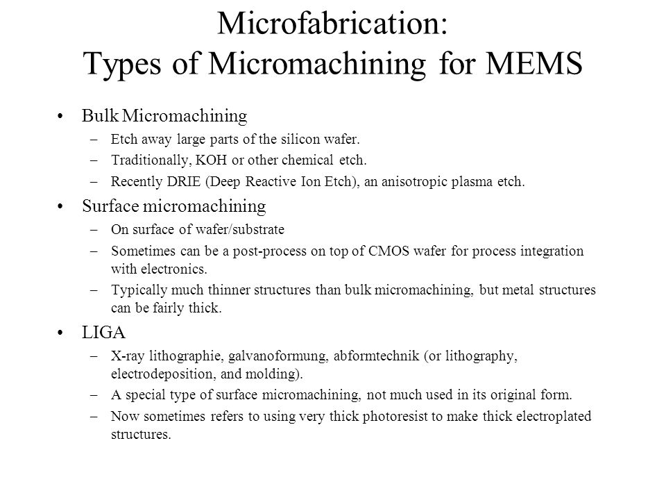 Microfabrication: Types of Micromachining for MEMS