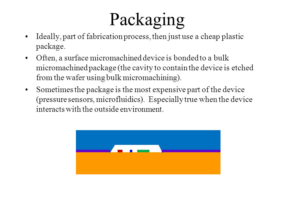 Packaging Ideally, part of fabrication process, then just use a cheap plastic package.