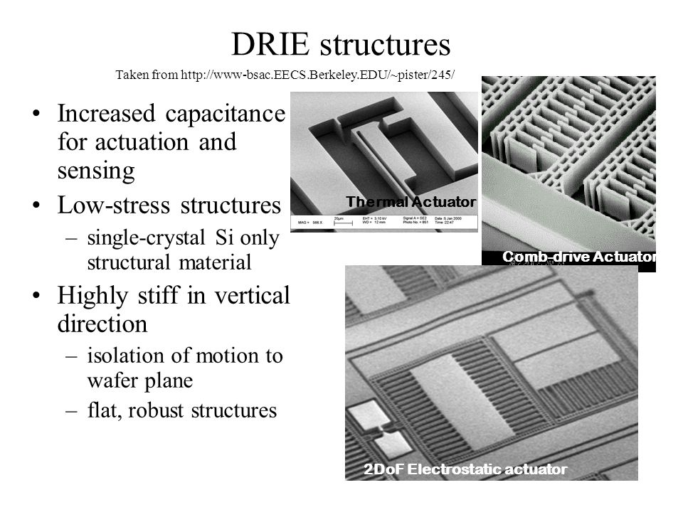 DRIE structures Increased capacitance for actuation and sensing