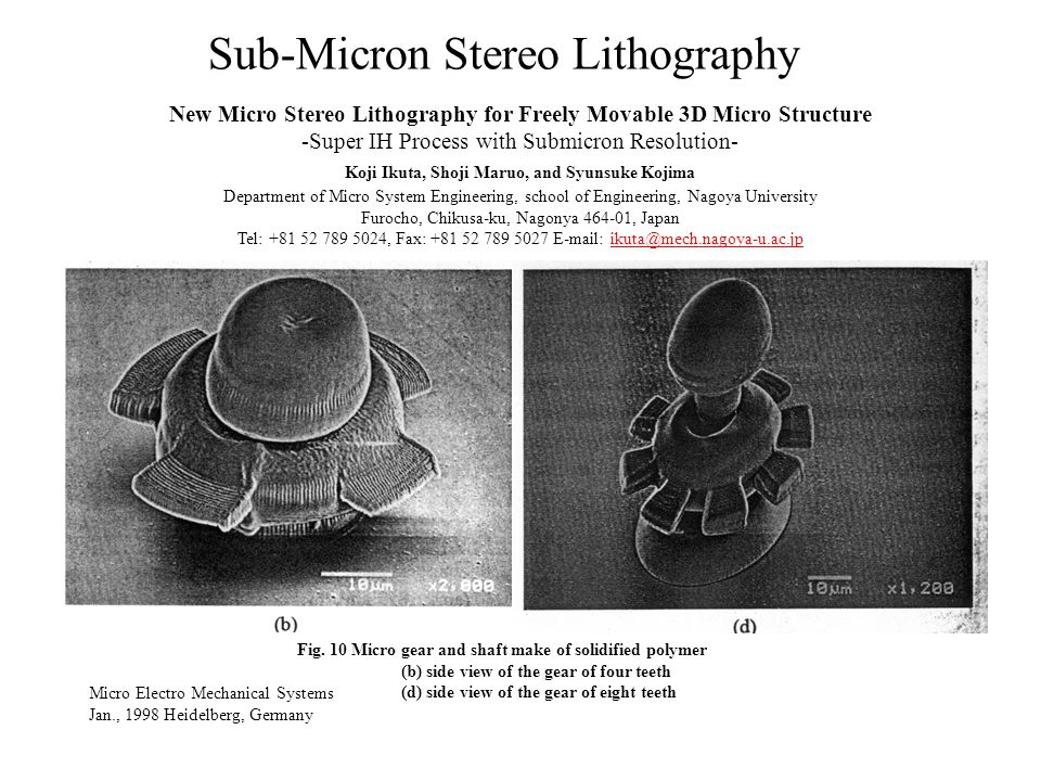 Sub-Micron Stereo Lithography