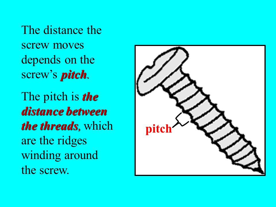 The distance the screw moves depends on the screw's pitch.