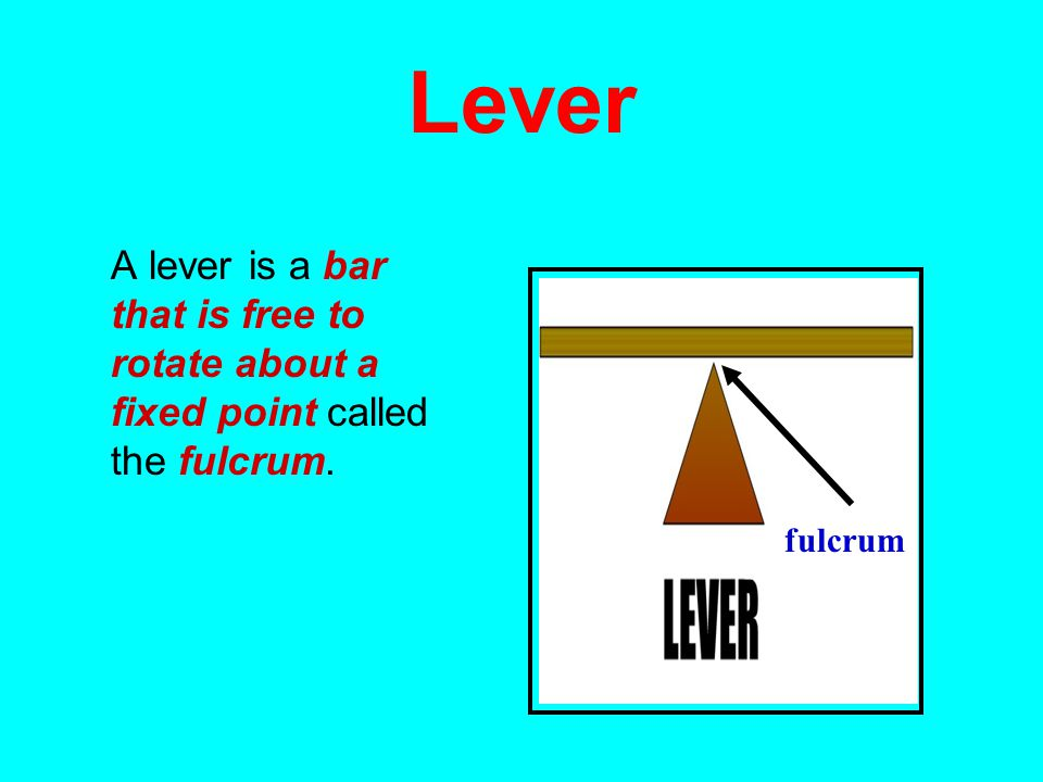Lever A lever is a bar that is free to rotate about a fixed point called the fulcrum. fulcrum