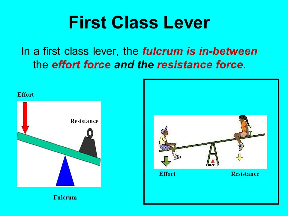 First Class Lever In a first class lever, the fulcrum is in-between the effort force and the resistance force.