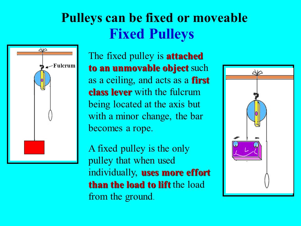 Pulleys can be fixed or moveable