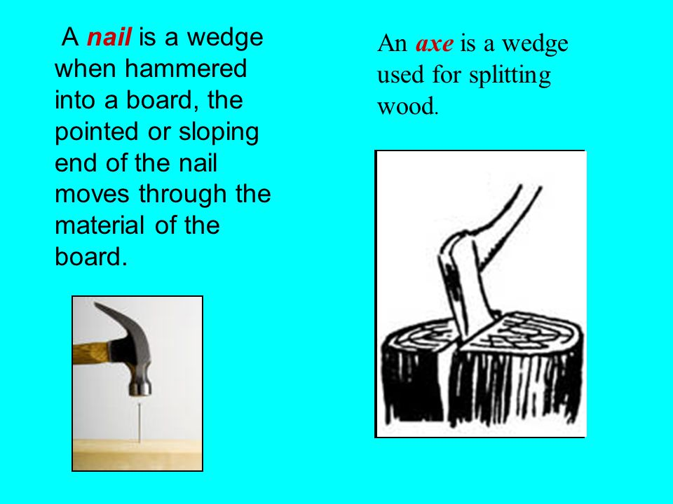 A nail is a wedge when hammered into a board, the pointed or sloping end of the nail moves through the material of the board.