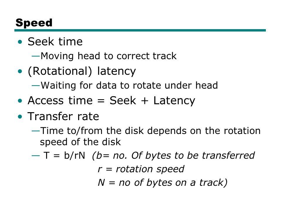 Access time = Seek + Latency Transfer rate