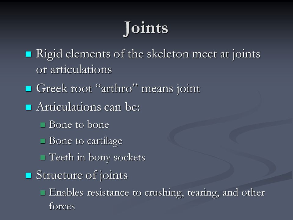 Joints Rigid elements of the skeleton meet at joints or articulations