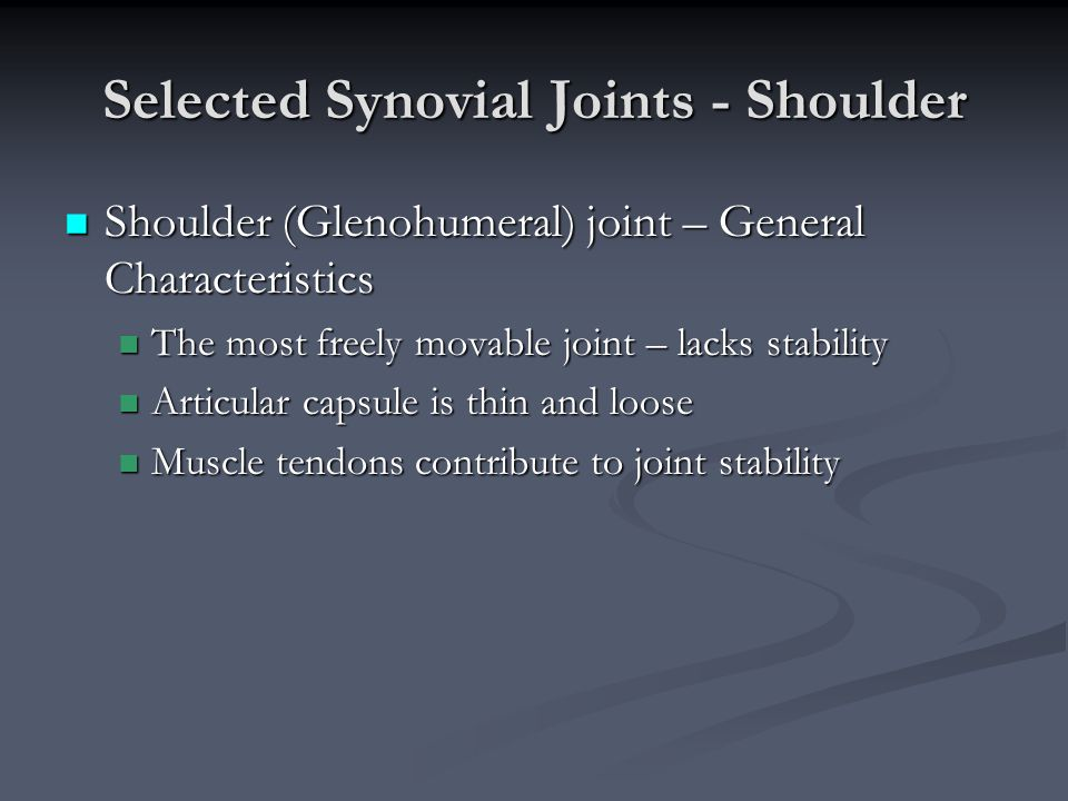 Selected Synovial Joints - Shoulder