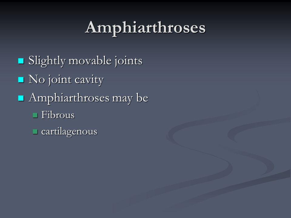 Amphiarthroses Slightly movable joints No joint cavity