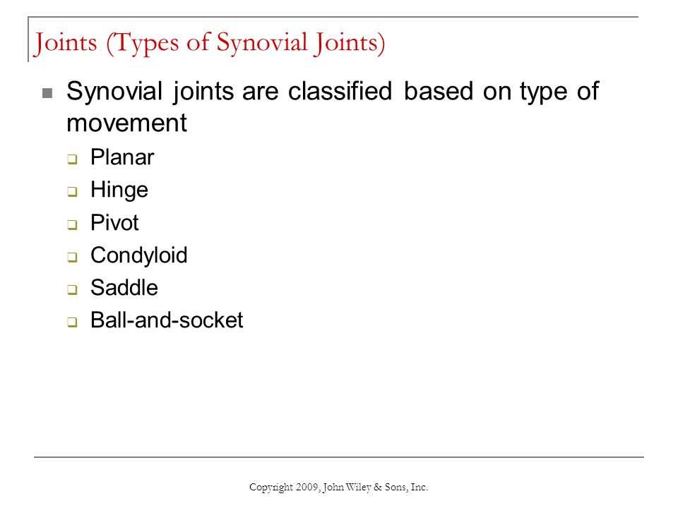 Joints (Types of Synovial Joints)