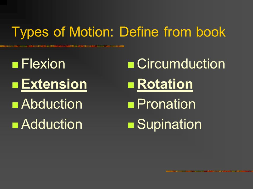 Types of Motion: Define from book