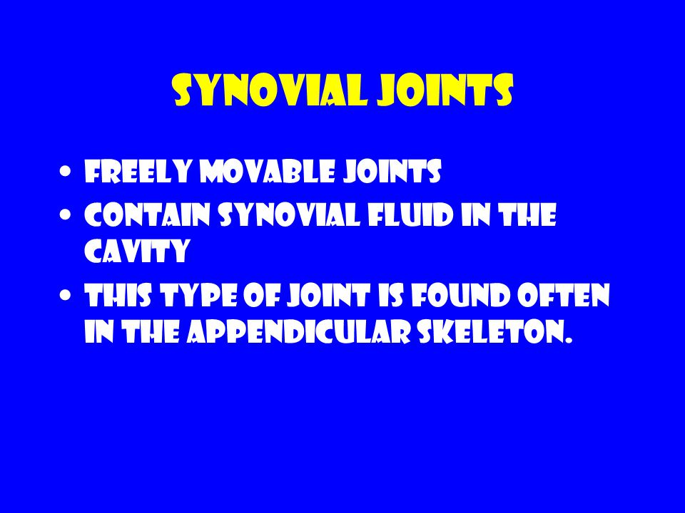 Synovial Joints Freely movable joints