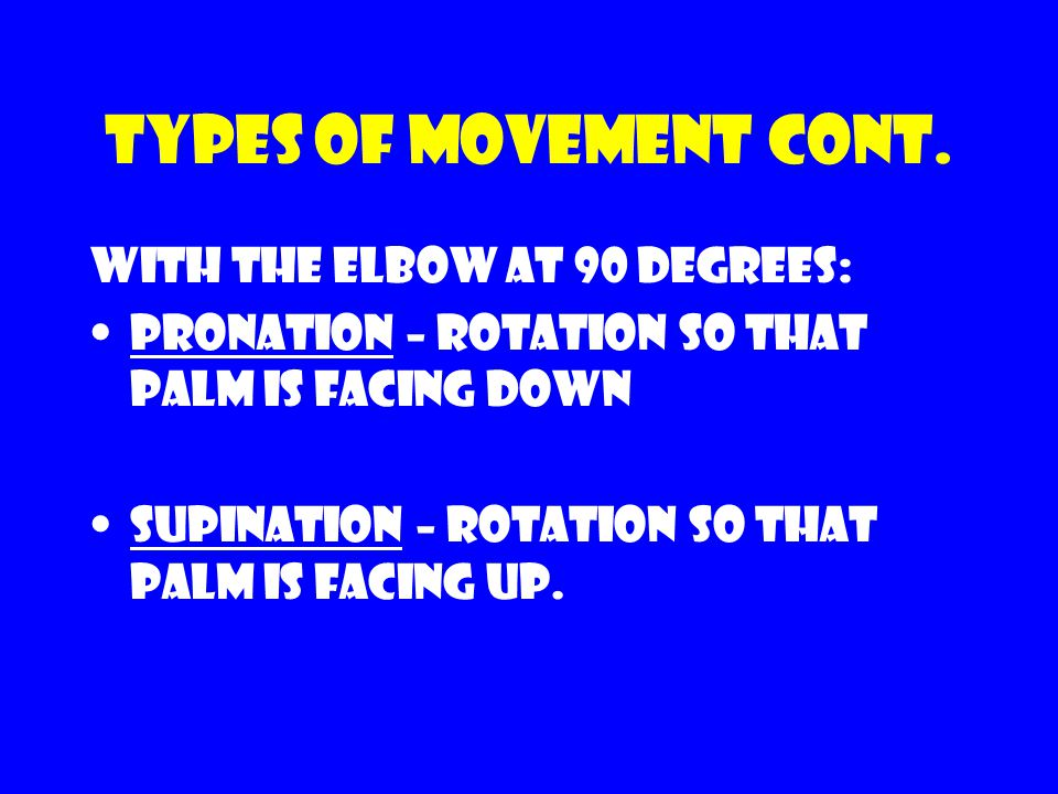 Types of movement cont. With the elbow at 90 degrees: