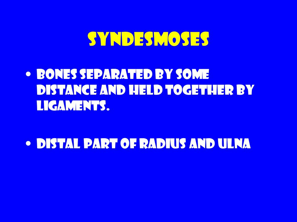 Syndesmoses Bones separated by some distance and held together by ligaments.