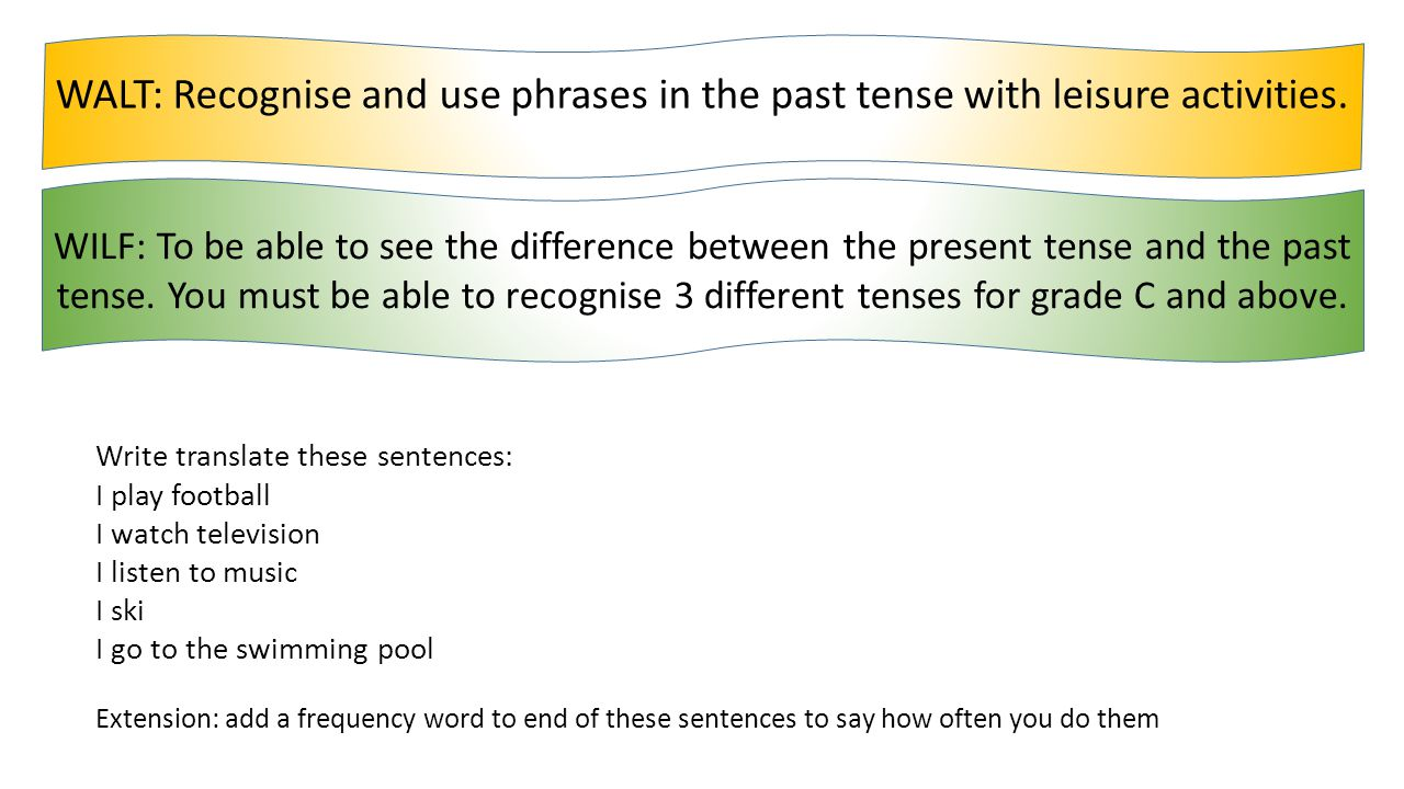 WALT: Recognise and use phrases in the past tense with leisure activities.