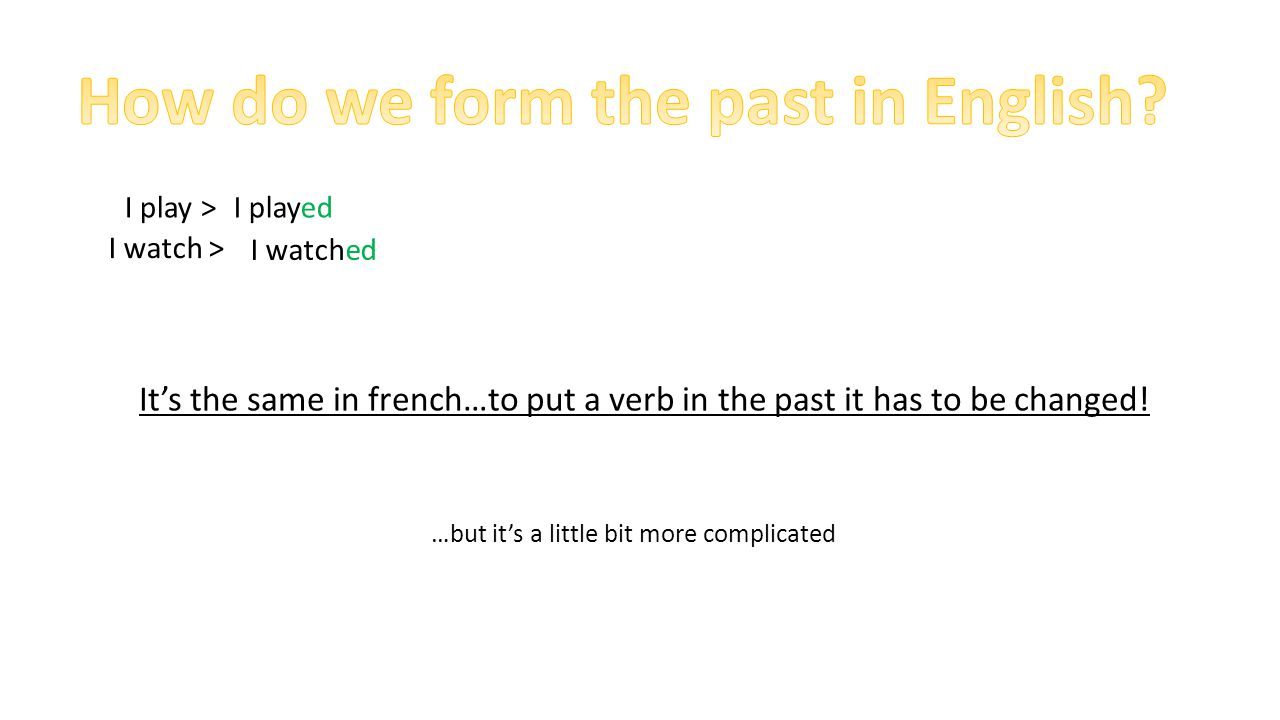 How do we form the past in English