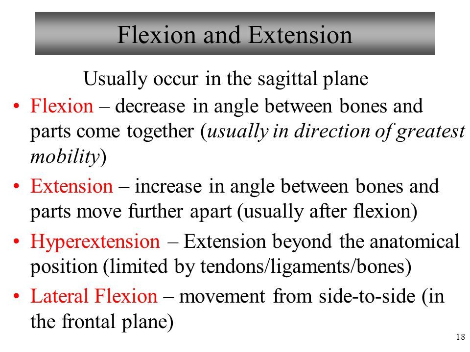 Flexion and Extension Usually occur in the sagittal plane