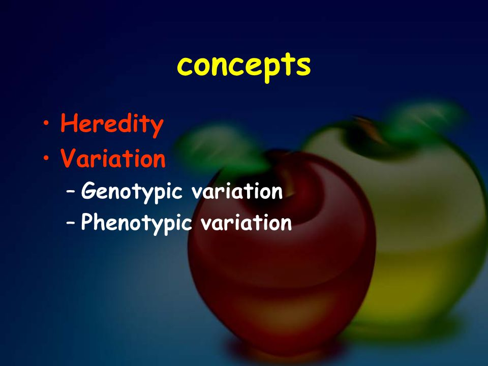 concepts Heredity Variation Genotypic variation Phenotypic variation