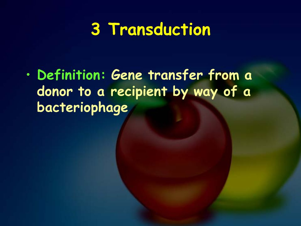 3 Transduction Definition: Gene transfer from a donor to a recipient by way of a bacteriophage