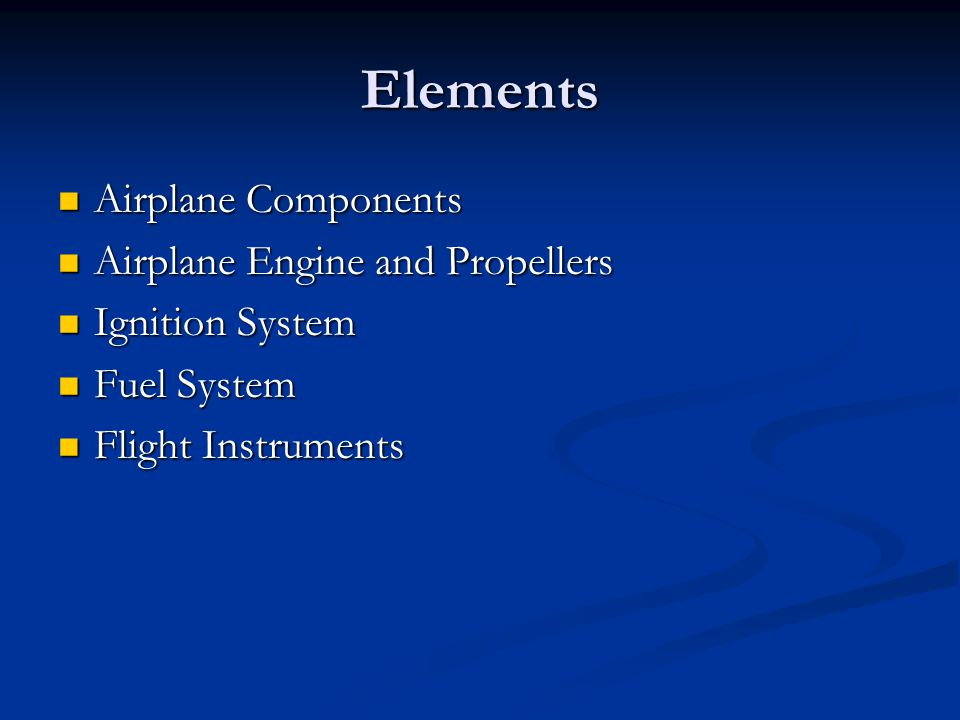 Elements Airplane Components Airplane Engine and Propellers