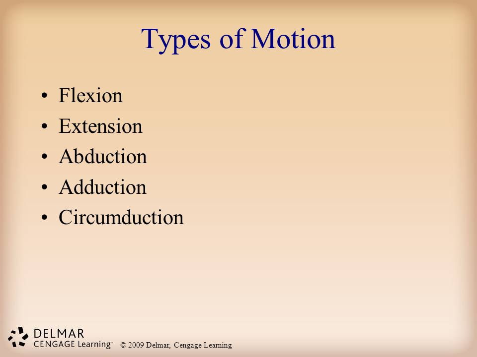 Types of Motion Flexion Extension Abduction Adduction Circumduction