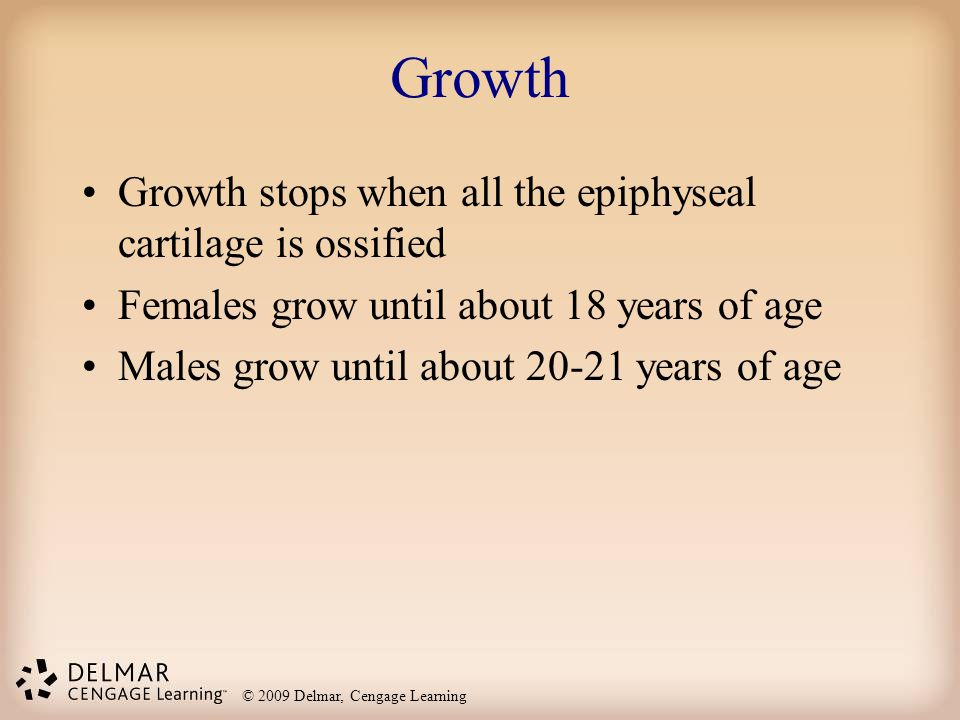 Growth Growth stops when all the epiphyseal cartilage is ossified