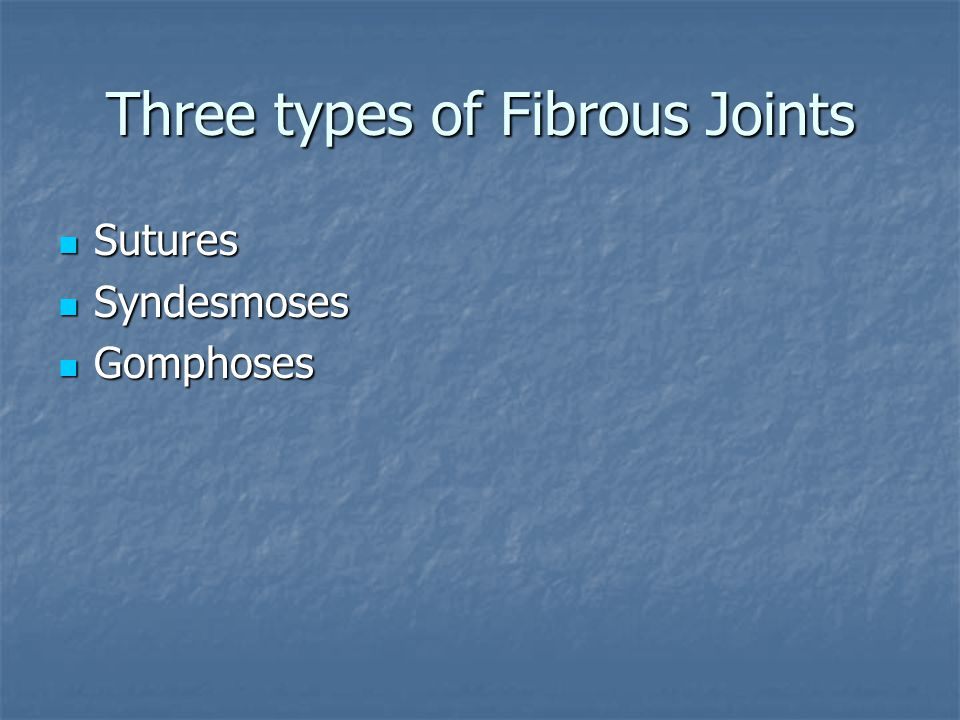 Three types of Fibrous Joints