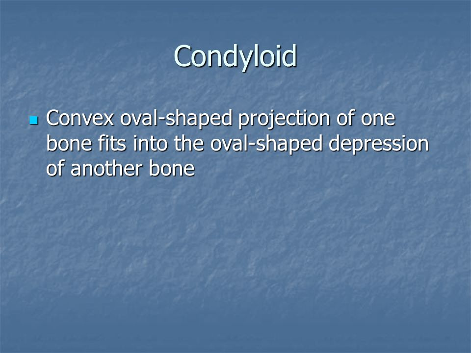 Condyloid Convex oval-shaped projection of one bone fits into the oval-shaped depression of another bone.