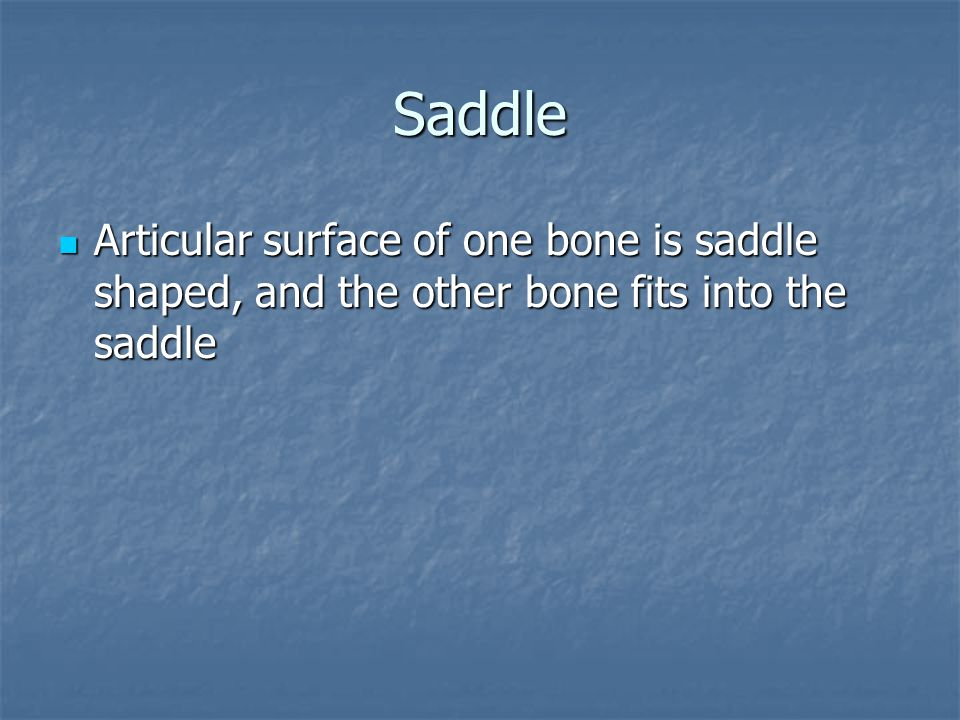 Saddle Articular surface of one bone is saddle shaped, and the other bone fits into the saddle
