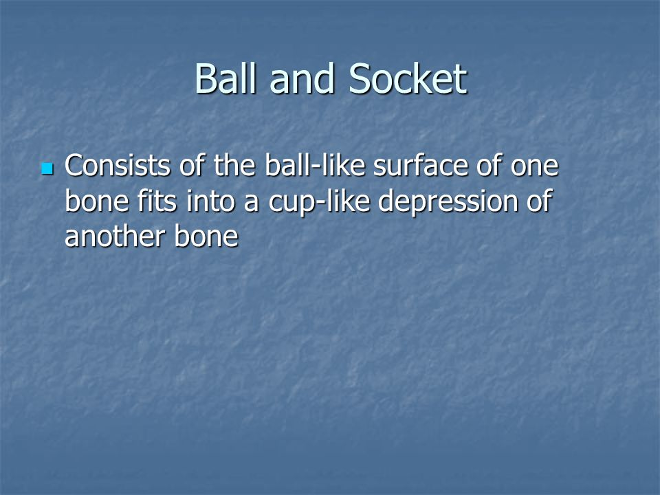 Ball and Socket Consists of the ball-like surface of one bone fits into a cup-like depression of another bone.