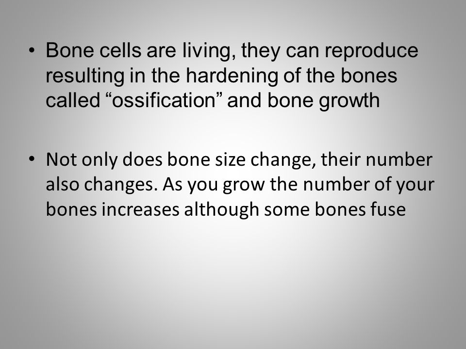 Bone cells are living, they can reproduce resulting in the hardening of the bones called ossification and bone growth
