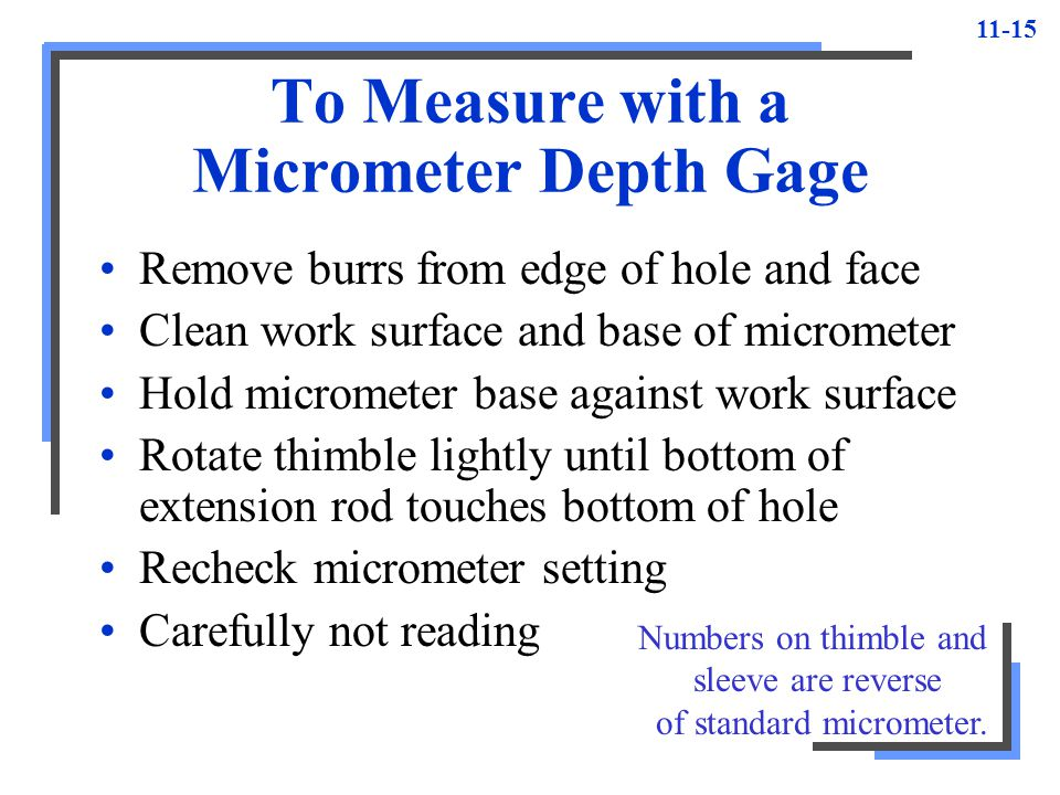 To Measure with a Micrometer Depth Gage