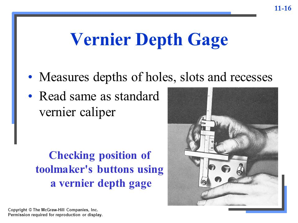 Checking position of toolmaker s buttons using a vernier depth gage