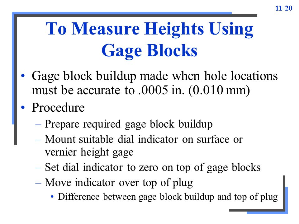 To Measure Heights Using Gage Blocks