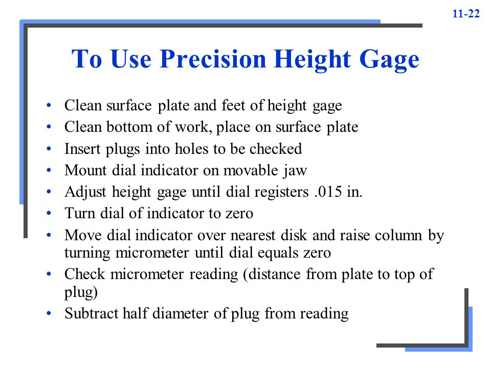 To Use Precision Height Gage