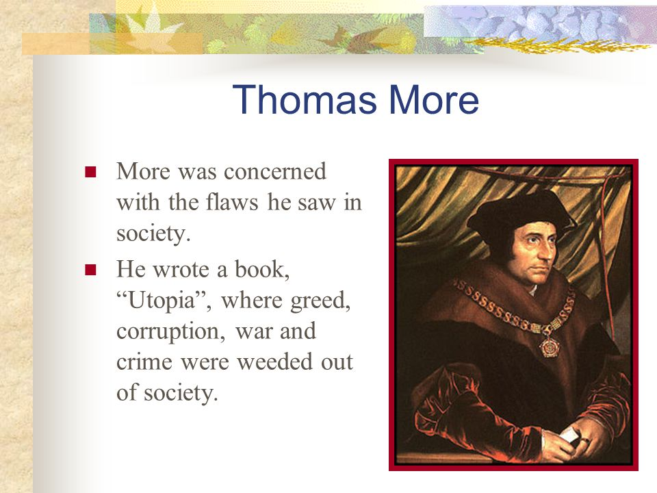 Thomas More More was concerned with the flaws he saw in society.
