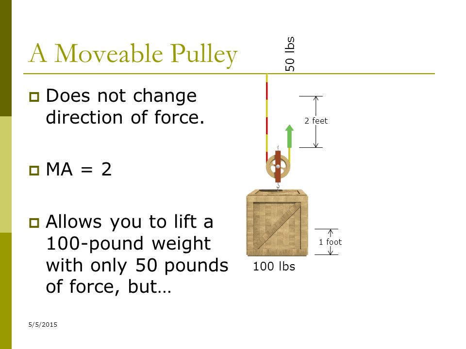 A Moveable Pulley Does not change direction of force. MA = 2