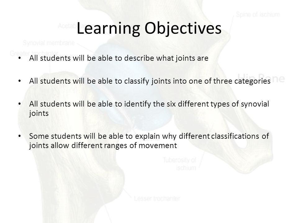 Learning Objectives All students will be able to describe what joints are. All students will be able to classify joints into one of three categories.