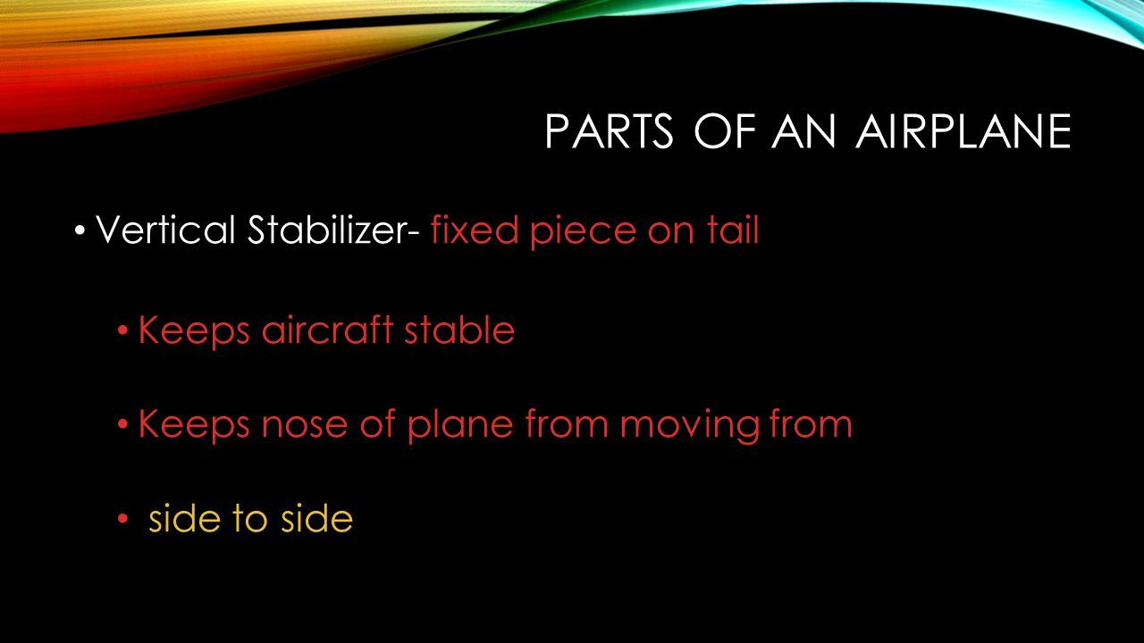 Parts of an Airplane Vertical Stabilizer- fixed piece on tail