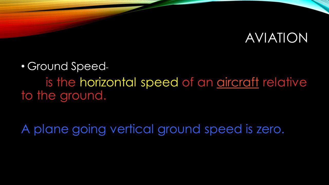 Aviation A plane going vertical ground speed is zero. Ground Speed-