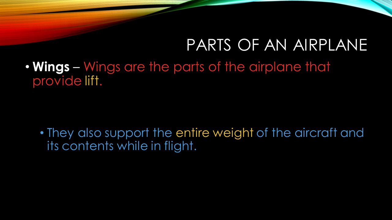 Parts of an Airplane Wings – Wings are the parts of the airplane that provide lift.